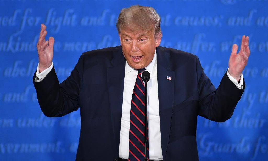 Tổng thống Mỹ Donald Trump trong buổi tranh luận đầu tiên với Joe Biden tại Cleveland, bang Ohio, hôm 29/9. Ảnh: AFP.