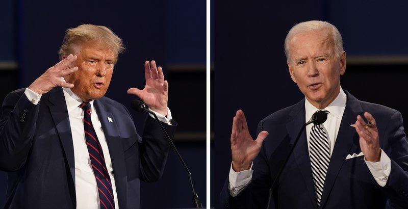 Tổng thống Mỹ Donald Trump (trái) và ứng viên tổng thống đảng Dân chủ Joe Biden trong phiên tranh luận đầu tiên ở Cleveland, Ohio, hôm 29/9. Ảnh: AP