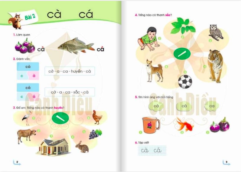 Nội dung bài 2 sách Tiếng Việt, bộ sách Cánh diều. Ảnh: sachcanhdieu.com