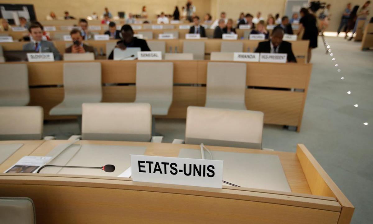 Ghế của đại diện Mỹ bỏ trống tại phòng họp ở Geneva, Thụy Sĩ sau khi chính quyền Tổng thống Trump rút khỏi Hội đồng Nhân quyền LHQ hồi năm 2018. Ảnh: Reuters.