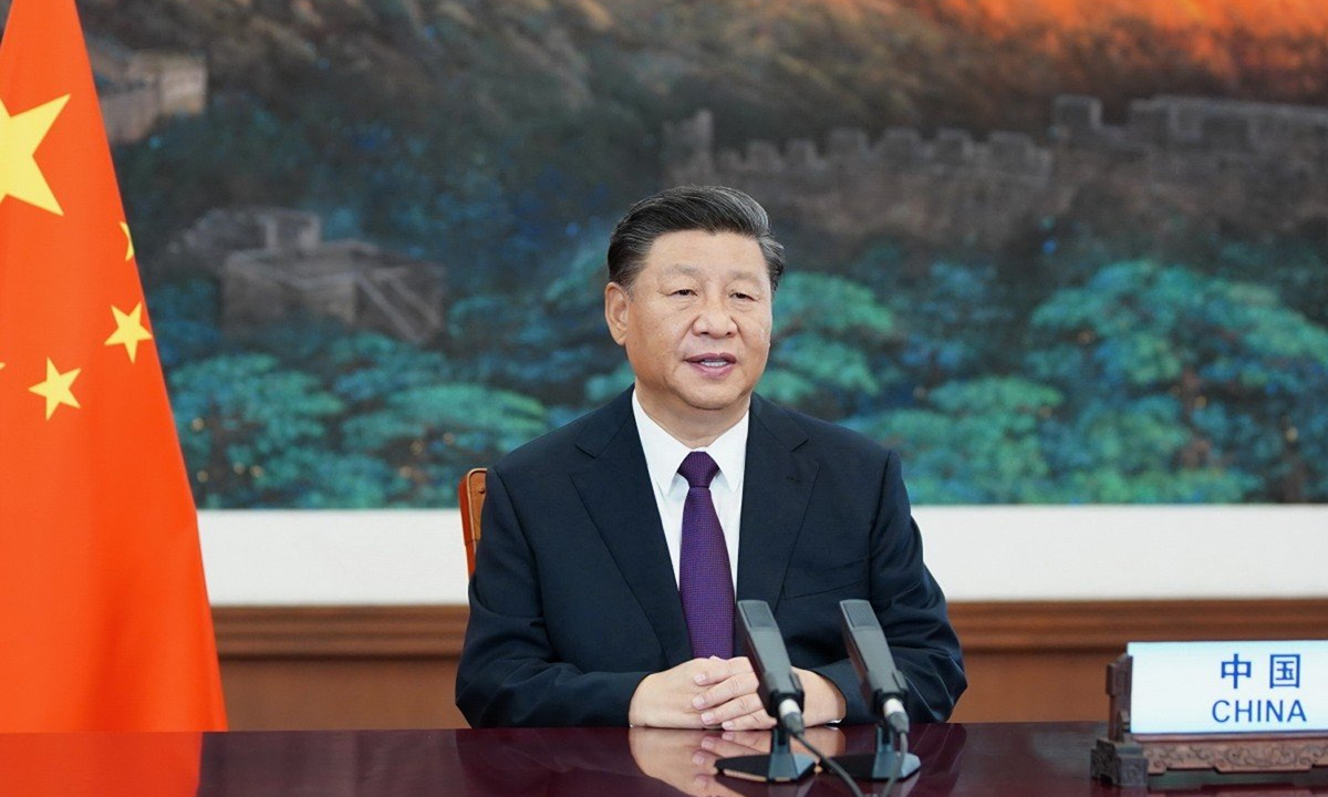 Chủ tịch Trung Quốc Tập Cận Bình ghi hình bài phát biểu cho Đại hội đồng Liên Hợp Quốc ở Bắc Kinh hồi tháng 9. Ảnh: Xinhua.