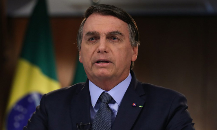 Tổng thống Brazil Jair Bolsonaro trong video phát biểu trước Đại hội đồng Liên Hợp Quốc hôm 16/9. Ảnh: AFP.