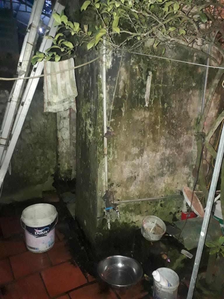 Khu vực phòng tắm, nhà vệ sinh của gia đình mọc rêu sau nhiều năm sử dụng.