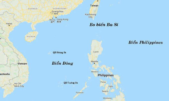Vị trí eo biển Ba Sĩ ở cửa ngõ Biển Đông. Đồ họa: Google Maps.
