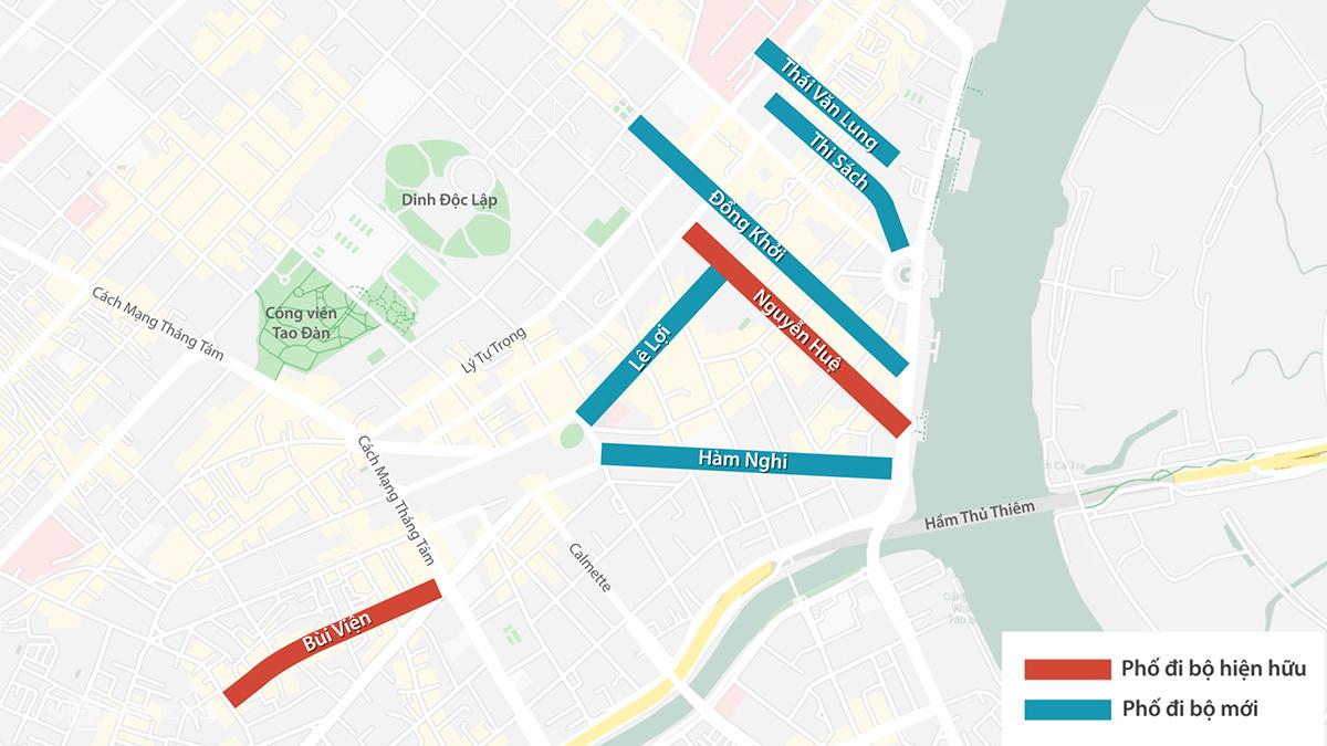 5 tuyến đường đi bộ đề xuất (màu xanh) và 2 phố hiện hữu (đỏ). Đồ họa: Thanh Huyền.