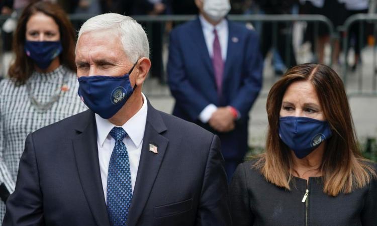 Vợ chồng Phó Tổng thống Mike Pence tại lễ tưởng niệm ngày 11/9 ở New York. Ảnh: AP.