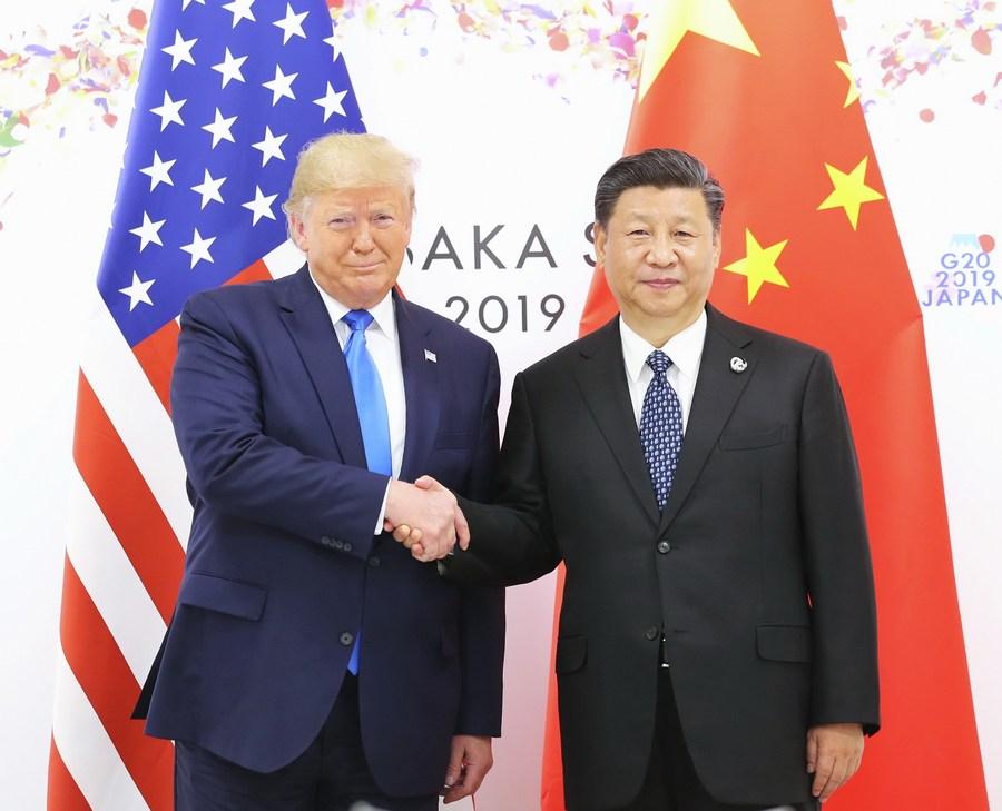 Tổng thống Mỹ Trump gặp Chủ tịch Trung Quốc tại Hội nghị thượng đỉnh G20 ở Osaka, Nhật Bản, tháng 6/2019. Ảnh: Xinhua.
