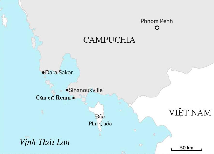 Vị trí căn cứ hải quân Ream của Campuchia. Đồ họa: GiS.