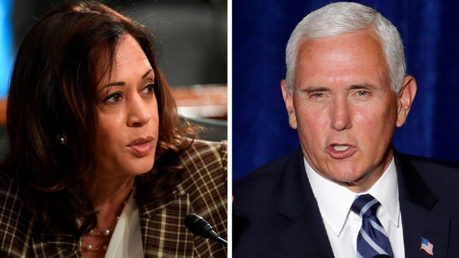 Ứng viên phó tổng thống đảng Dân chủ Kamala Harris (trái) và ứng viên phó tổng thống đảng Cộng hòa, Mike Pence. Ảnh: Fox News.