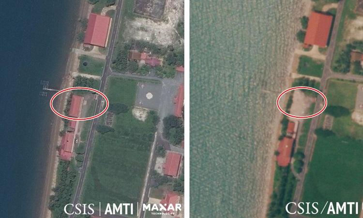 Ảnh vệ tinh trước và sau cho thấy tòa nhà do Mỹ xây tại căn cứ hải quân Ream của Campuchia đã biến mất. Ảnh: CSIS.
