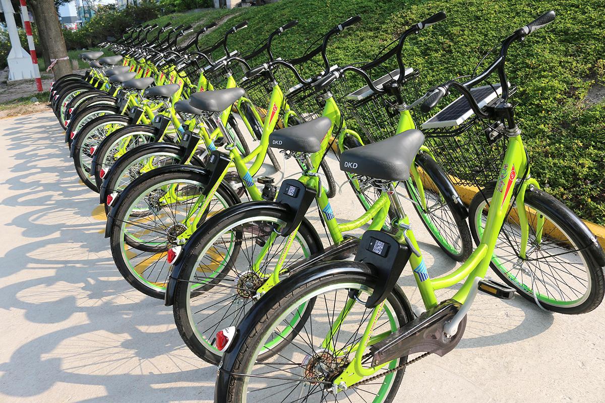 Xe đạp công cộng thuộc dự án xe đạp thông minh E-bike, thử nghiệm ở khu Đại học Quốc gia TP HCM, năm 2018. Ảnh: Phạm Phương.