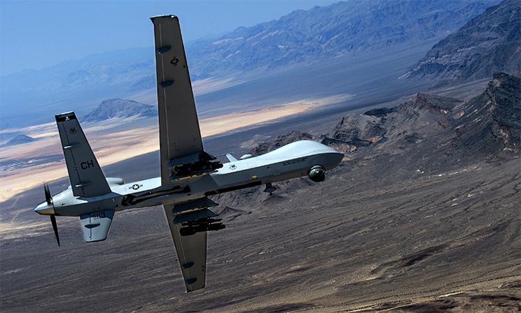 UAV MQ-9 Reaper lượn trên căn cứ không quân Creech, bang Nevada, Mỹ, tháng 6/2015. Ảnh: USAF.