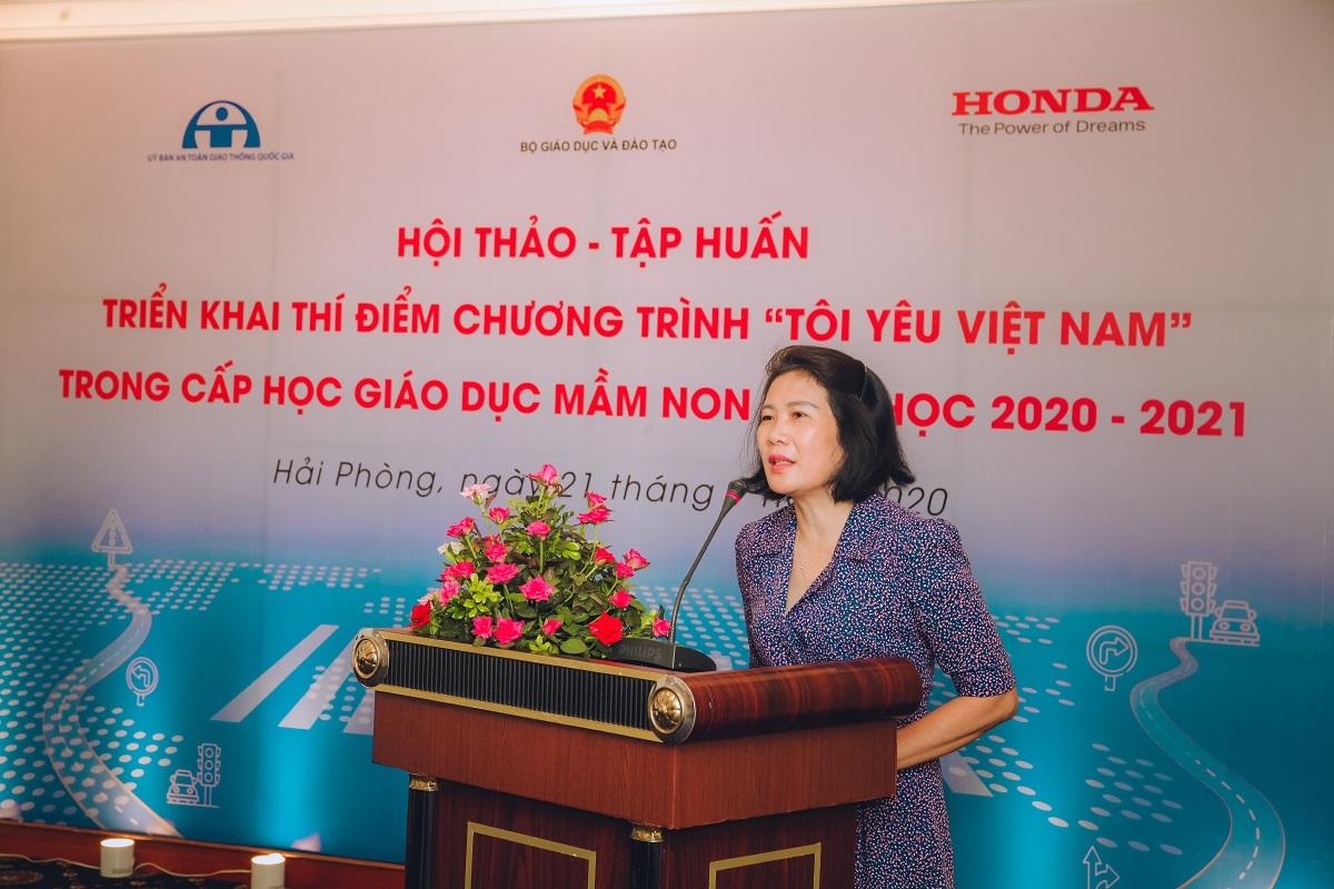 Bà Nguyễn Thị Hiếu, Phó Vụ trưởng Vụ Mầm Non, Bộ Giáo dục và Đào tạo phát biểu tại sự kiện. Ảnh: Honda.