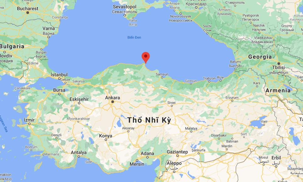 Vị trí thành phố Sinop của Thổ Nhĩ Kỳ (đánh dấu đỏ). Đồ họa: Google.