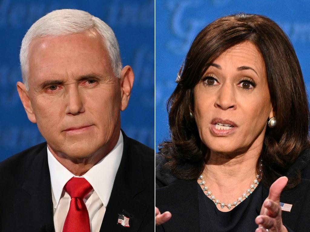 Phó tổng thống Mike Pence (trái) và ứng viên đảng Dân chủ Kamala Harris tại cuộc tranh luận ở Utah ngày 7/10. Ảnh: AFP.