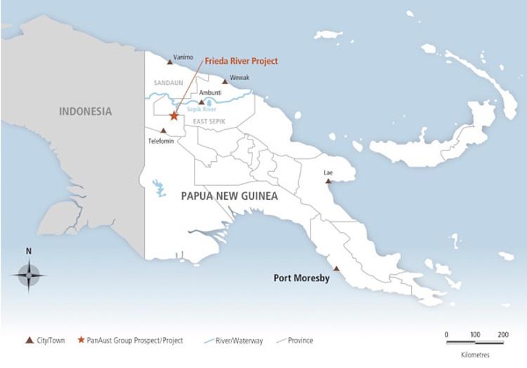 Vị trí dự án mỏ khai thác sông Frieda (dấu sao) trên bản đồ Papa New Guinea. Đồ họa: Ramumine.