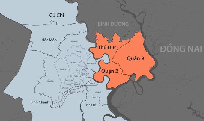 Ba quận 2, 9 và Thủ Đức từng là một đơn vị hành chính với tên gọi huyện Thủ Đức. Đồ hoạ: Khánh Hoàng