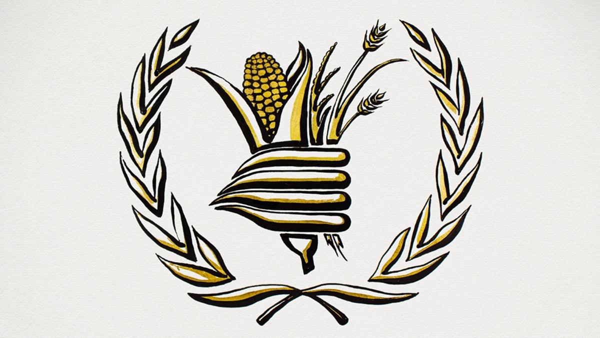 Logo của Chương trình Lương thực Thế giới (WFP). Ảnh: Twitter/NobelPrize.