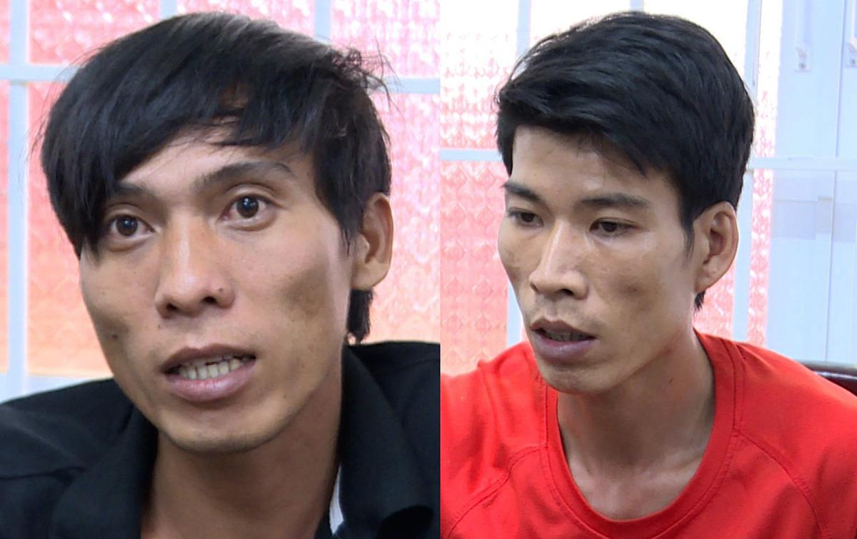 Đạt (trái) và Nghĩa tại Công an TP Vũng Tàu. Ảnh: Quang Bình.