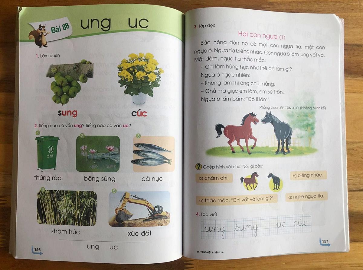 Bài tập đọc Hai con ngựa, phần 1, được in tại bài 88, sách Tiếng Việt 1 Cánh Diều. Ảnh: D.T