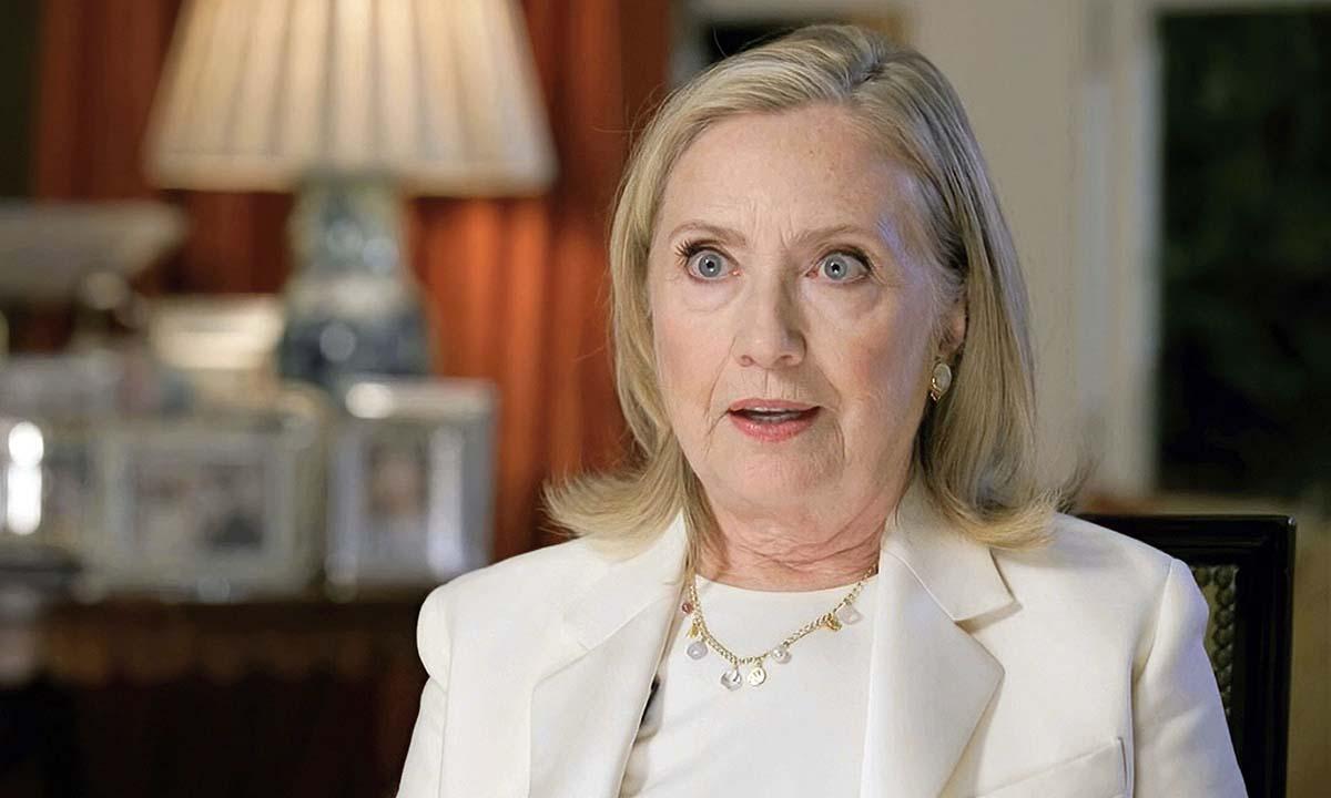 Cựu ngoại trưởng Mỹ Hillary Clinton phát biểu qua video tại Hội nghị Quốc gia đảng Dân chủ hôm 19/8. Ảnh: AP.