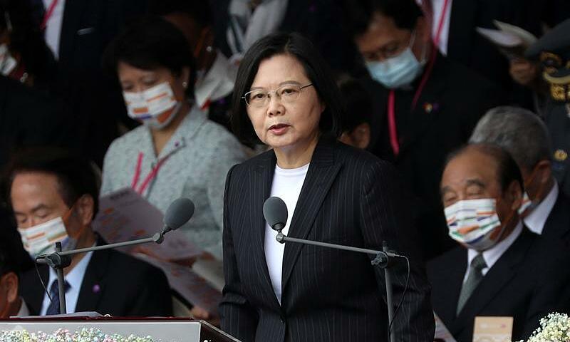 Lãnh đạo Đài Loan Thái Anh Văn phát biểu nhân kỷ niệm thành lập hòn đảo hôm nay. Ảnh: Reuters.