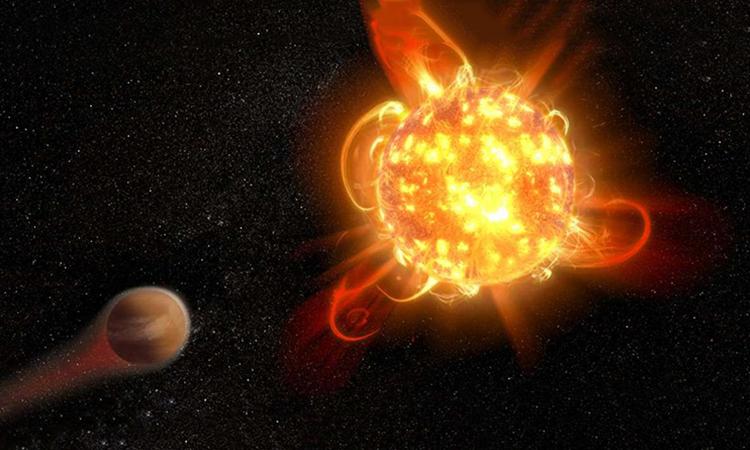 Mô phỏng siêu quầng lửa phá hủy bầu khí quyển trên hành tinh xoay quanh sao lùn đỏ. Ảnh: NASA.