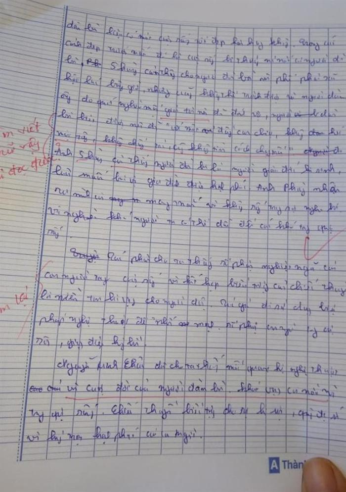 Giáo viên chấm điểm bài thi này chắc cũng mệt mỏi lắm.