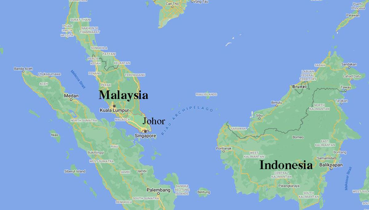 Vị trí bang Johor của Malaysia. Đồ họa: Google Map.