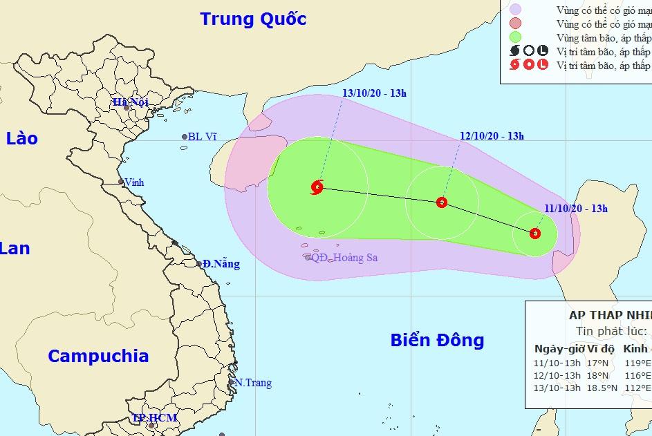 Áp thấp nhiệt đới mới xuất hiện trên Biển Đông chiều 11/10. Ảnh: NCHMF.