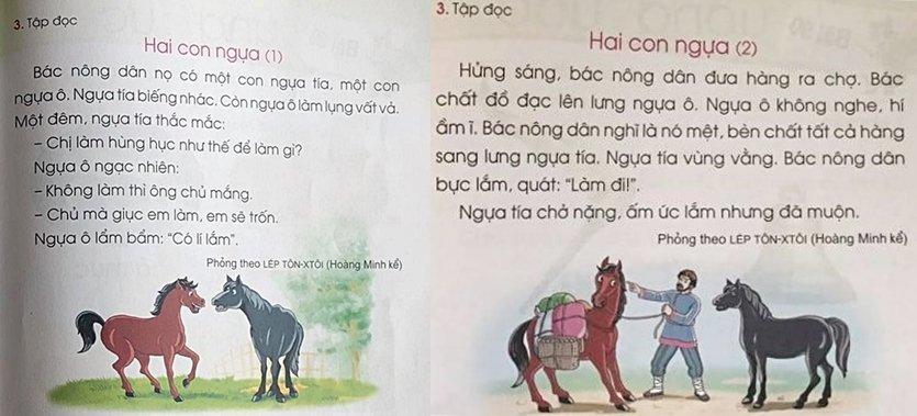 Hai chú ngựa được tách làm hai phần, đưa vào phần tập đọc ở bài 88 và 89 sách Cánh Diều. Ảnh: Trần Thành
