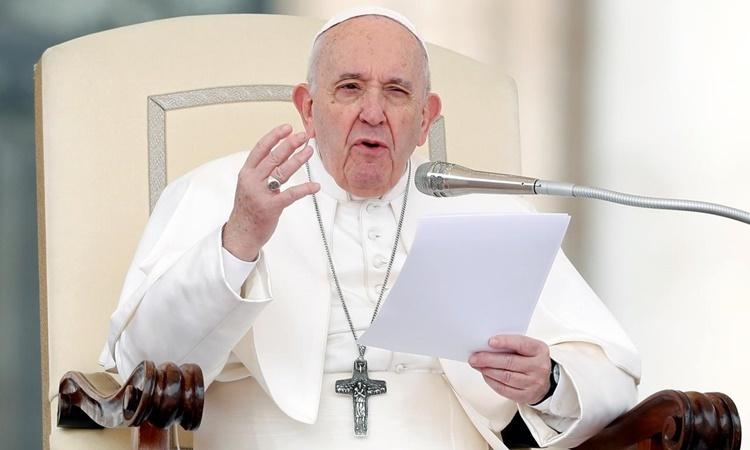 Giáo hoàng Francis phát biểu tại Vatican ngày 26/2. Ảnh: Reuters.