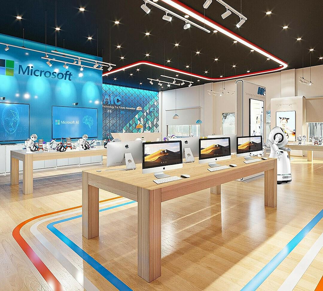 Không gian nơi trưng bày, diễn ra các hoạt động hội thảo về chủ đề AI - Robotics tại AIC. Ảnh phối cảnh.