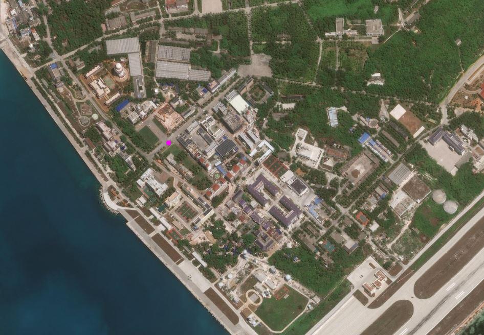 Ảnh vệ tinh các công trình Trung Quốc xây dựng trái phép trên đảo Phú Lâm thuộc quần đảo Hoàng Sa của Việt Nam. Ảnh: AMTI.
