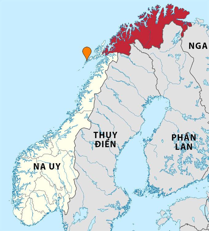 Vị trí hạt Tromso (màu đỏ) ở miền bắc Na Uy. Đồ họa: Wiki Commons.