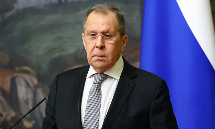Ngoại trưởng Nga Sergey Lavrov trong buổi họp báo sau hội đàm với người đồng cấp Armenia. Ảnh: Bộ Ngoại giao Nga.