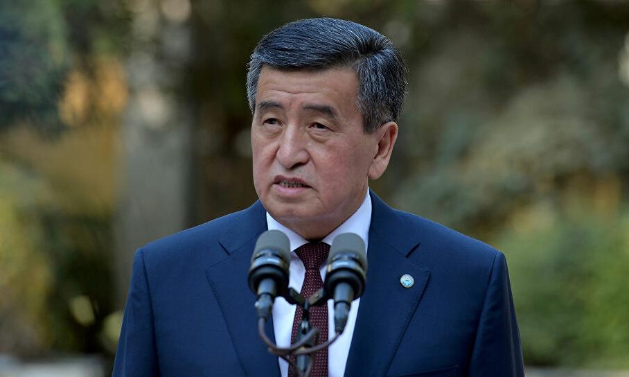 Jeenbekov phát biểu tại thủ đô Bishkek hôm 4/10. Ảnh: Reuters.