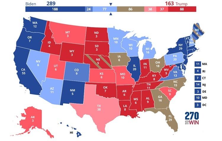 Bản đồ dự đoán xu thế ủng hộ ứng viên tổng thống phân theo từng bang của Mỹ, trong đó, màu xanh lam là nghiêng về ứng viên đảng Dân chủ Joe Biden, màu đỏ là nghiêng về ứng viên đảng Cộng hòa Donald Trump và màu nâu là những bang dao động. Đồ họa: 270towin.