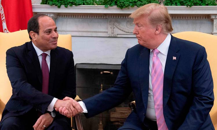 Tổng thống Mỹ Donald Trump gặp Tổng thống Ai Cập Abdel Fattah el-Sisi tại Nhà Trắng tháng 4/2019. Ảnh: AFP.