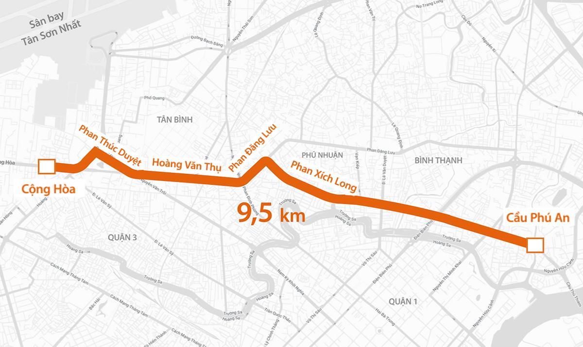 Lộ trình tuyến Số 1 đi qua các khu vực trung tâm thành phố. Đồ họa: Thanh Huyền.