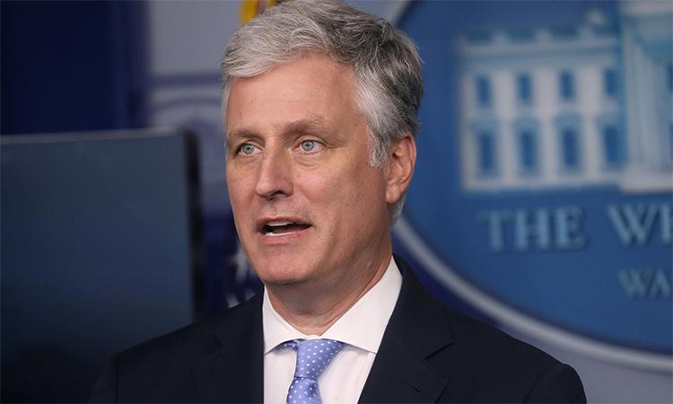 Cố vấn An ninh quốc gia Mỹ Robert OBrien tại buổi họp báo ở Nhà Trắng, ngày 4/9. Ảnh: Reuters.