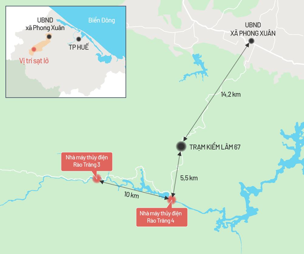 Bản đồ vị trí thủy điện Rào Trăng 3 và 4. Đồ họa: Tiến Thành