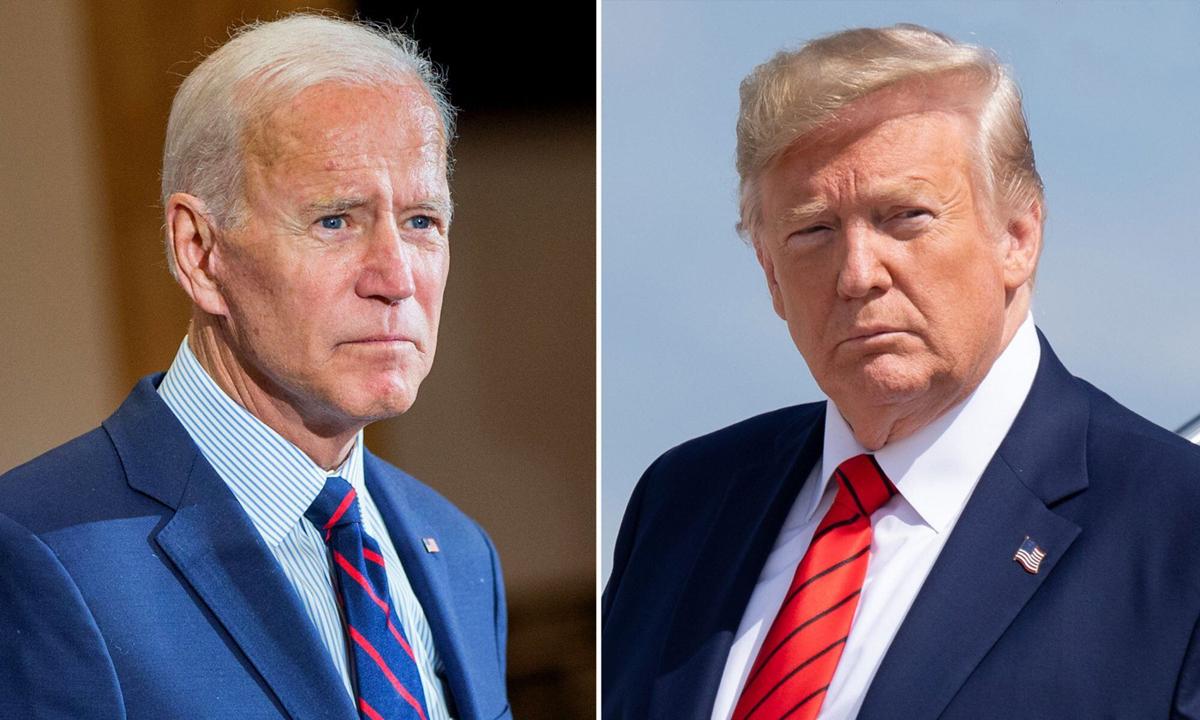 Ứng viên Joe Biden (trái) và Tổng thống Donald Trump. Ảnh: AFP.