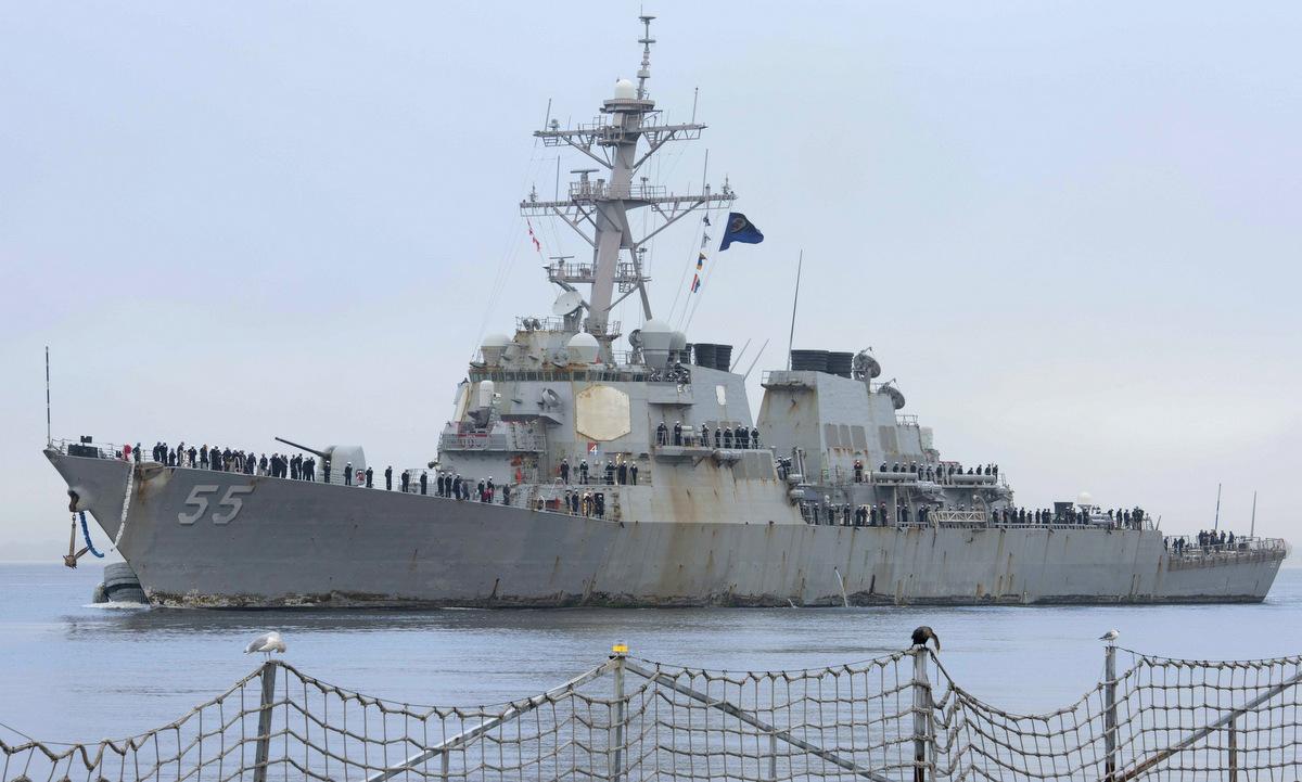 USS Stout về quân cảng Norfolk hôm 11/10. Ảnh: US Navy.