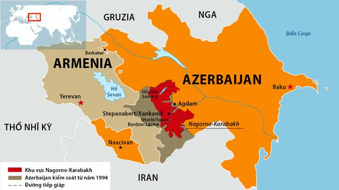 Khu vực Nagorno-Karabakh. Đồ họa: RFE/RL.