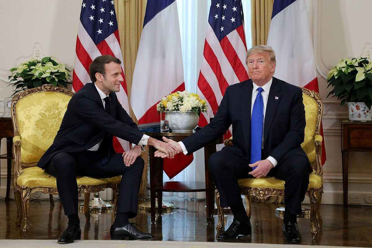 Tổng thống Mỹ Trump (phải) và Tổng thống Pháp Macron tại London tháng 12/2019. Ảnh: Reuters.