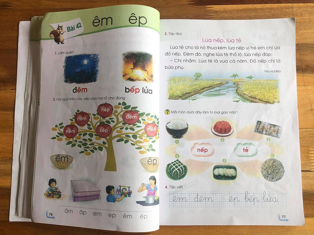 Bài 42 trong sách Tiếng Việt 1 bộ Cánh Diều. Ảnh: Trần Thành