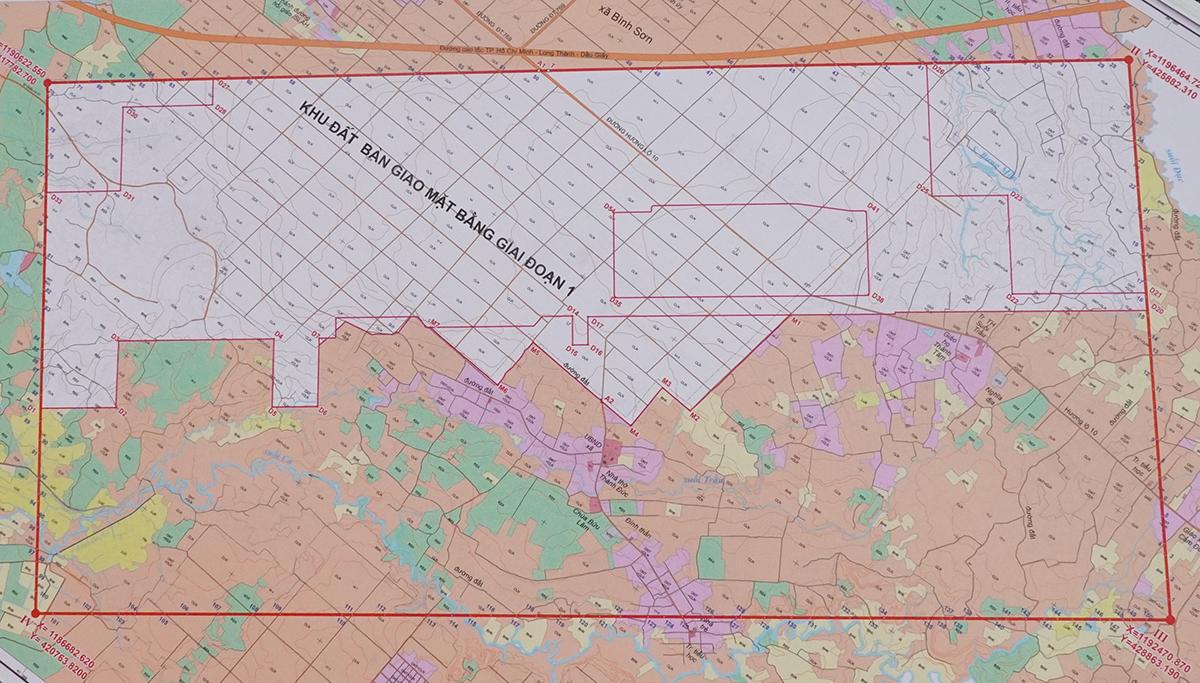 Bản đồ khu đất bàn giao giai đoạn một sân bay Long Thành. Ảnh: Phước Tuấn