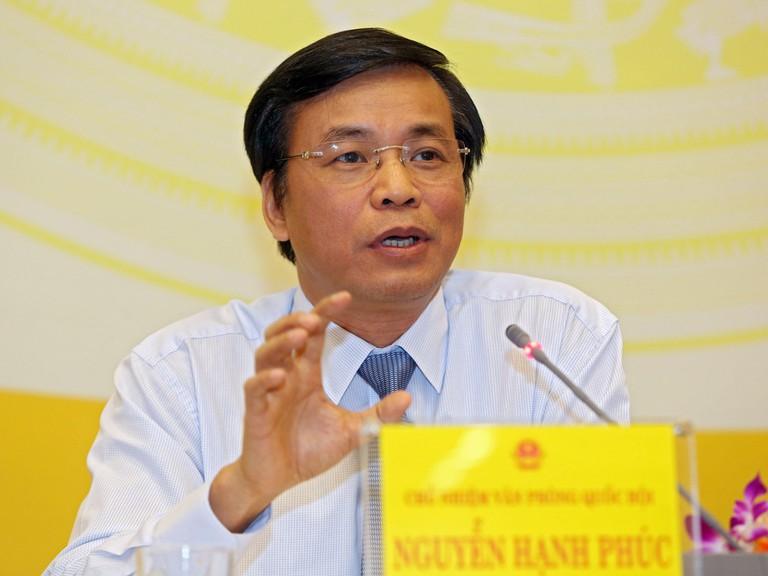 Tổng thư ký Quốc hội Nguyễn Hạnh Phúc. Ảnh: Trung tâm báo chí Quốc hội