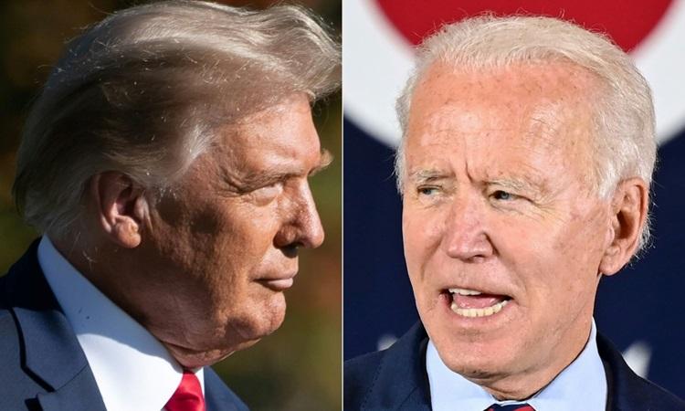 Tổng thống Donald Trump (trái) và ứng viên tổng thống đảng Dân chủ Joe Biden. Ảnh: AFP.
